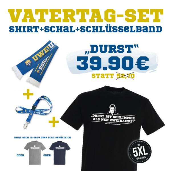 """UWE! Vatertagsset """"DURST"""" (Shirt+Schal+Schlüsselband)"""