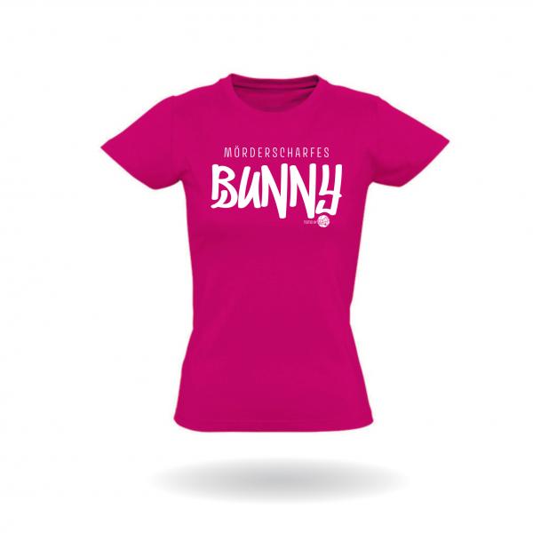"Damen T-Shirt ""Mörderscharfes Bunny"" Vorderseite"