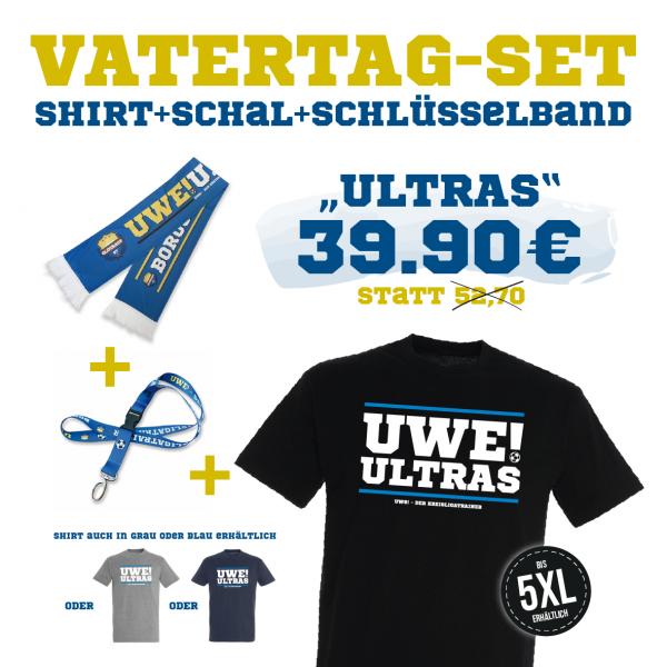 """UWE! Vatertagsset """"ULTRA"""" (Shirt+Schal+Schlüsselband)"""